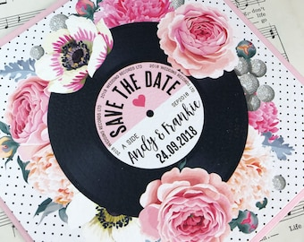 Floral Vinyl Record inspired Save The Date Cards