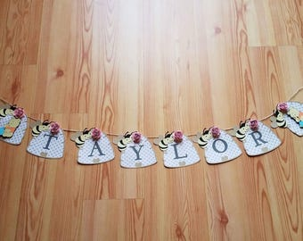 Customized Winnie the Pooh Name Banner, Name Banner, Pooh Banner, Happy Birthday Banner, Flower Banner
