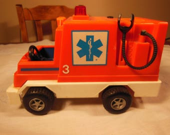 Vintage-Fisher Price-1982-1983-Husky Rescue Rig-Number 337-Rescue Truck Only