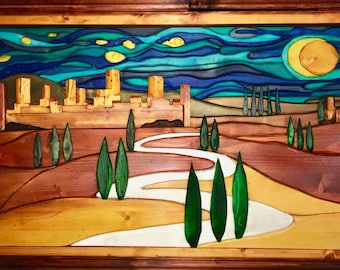 "Night landscape with a village and cypress trees. Title of the work ""the way"" 116 x 61 cm"