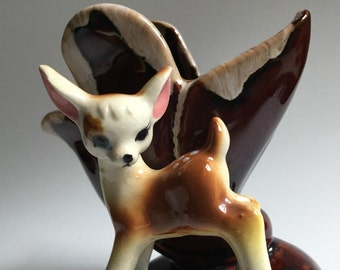 Vintage Brown Ceramic Vase with Fawn Figurine - Made in Japan