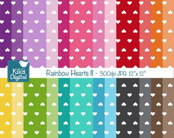 Colorful Hearts II Digital Papers - Colorful Scrapbook Papers - card design, invitations, background, paper crafts - INSTANT DOWNLOAD