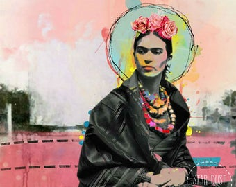 """Frida Kahlo inspired Art collage """" At the end of the day"""",Giclee print on canvas, Collage art on canvas, art collage, wall art, Mexico"""