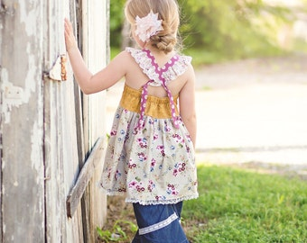 New! Katy Cross Back Flutter Knot Top & Dress PDF Sewing Pattern, Girls sz 6-12M to 10