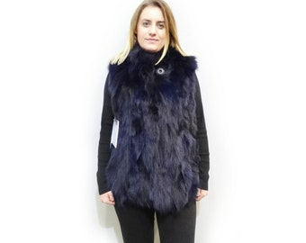 Blue Fox Vest,Woman Fur Vest,Ideal for Leather Jacket F494