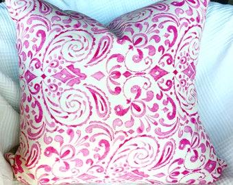 Pink cushion, pink pillow, botanical pillow, pretty pillow, linen pillow, pink decor, square cushion, 20 inch pillow, girls bedroom pillow