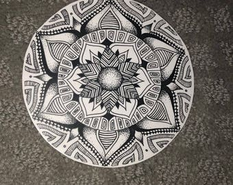 Mandala Sticker Black and White