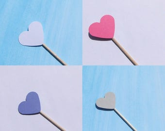 Cupcake toppers Heart Kuchendeko muffin sticks cake toppers wedding table decorations Hearts Kuchensticks bake skewers