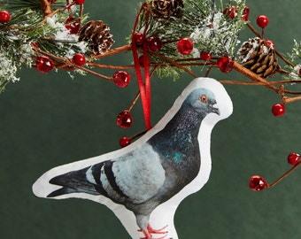 Printed Pigeon Pillow Ornament - Mini Stuffed Pillow - Holiday Decoration - NYC Souvenir - Small Accent Pillow - Hanging Cushion