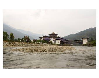 Bhutan, Punaka Dzong, Buddhism, Landscape, Architecture, Architecture photograph, Travel Photography, Wall Art Print, Home Decor, Wall Decor