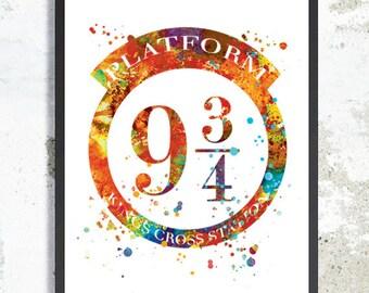 Platform 9 3/4 watercolor print Hogwarts express wall decor Harry Potter Nursery Art Platform 9 3/4 Poster Hogwarts Poster Baby Kid Gift