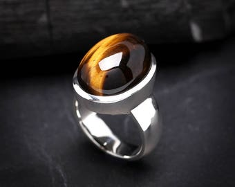 Large Tiger Eye Ring 9 | Sterling Silver Ring | AAA High Luster Yellow Gemstone | Oval Natural Tiger Eye Gemstone Jewelry