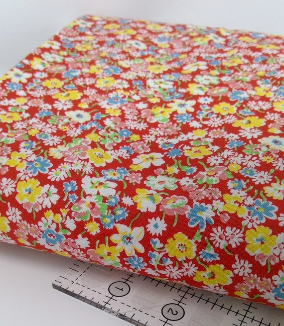 White, Yellow And Blue Wildflowers On Red, Toy Chest Florals, Washington Street Studio's For P&B Textiles, Fabric By The Yard 0411r