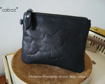 Coin purse, clutch, leather engraved leather bird drawing