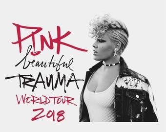 P!NK  Beautiful Trauma World Tour T-Shirt - P!NK T-Shirt, Trauma Tour, Trauma World Tour