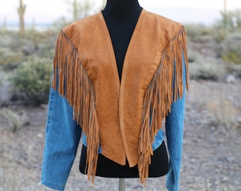 Vintage Fringe Leather and Denim Jacket