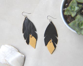 Leather Feather Statement Earrings - Slate & Yellow
