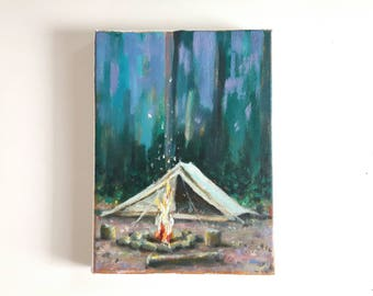 original acrylic painting, campfire, camping painting, small painting, wanderlust painting, forest painting, acrylics on canvas, boho art