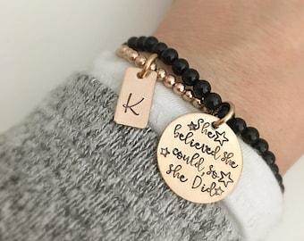 She Believed She Could So She Did Bracelet - Personalized Gift for her - Initial Bracelet - Personalized Graduation Gift Friend