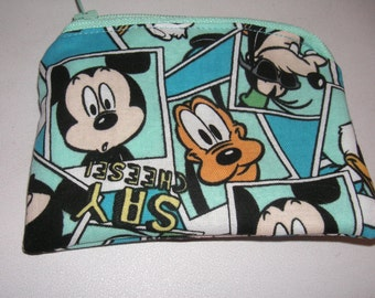 Mickey Mouse Pluto handmade zipper fabric coin change purse card holder