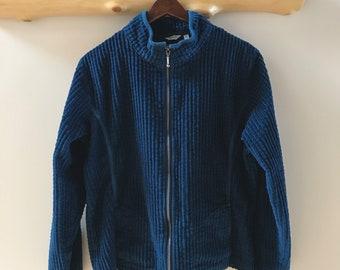 deep sea blue Woolrich wide wale corduroy jacket w/ zipper
