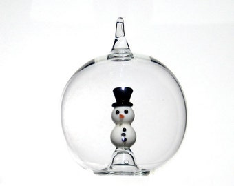 Glass Snowman Ornament, Christmas Ornament in Hand Blown Glass
