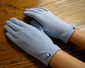 Periwinkle Dress Gloves, Fownes, Size 6 1/2 - 7, Vintage Dress Gloves, Short Blue Gloves, Dress Gloves, Periwinkle Gloves, Retro Style