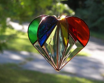 Stained Glass Heart Rainbow,Valentine Heart, Valentine gift, Rainbow Heart, Bevel Heart, Rainbow suncatcher, , Heart Suncatcher