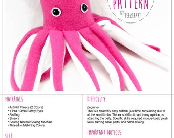 Squid Stuffed Animal Sewing Pattern Plush Toy PDF Pattern