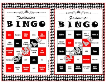30 Printable Fashionista BINGO Cards, Instant Download, Birthdays, Girls' Night Out, Bachelorette Parties, Showers, Sweet 16s, and More!