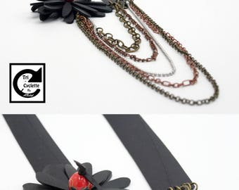 Tri-cycle: spring necklace, inner tube recycled / eco-friendly / Upcycling / vegan jewelry / eco jewelry / Veggie