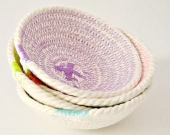Rope Bowl Set, Mini Rope Bowls, Rope Basket Set, Gift for her, Colorful bowl set, Boho home décor, Decorative bowls Home Decor Bowl Set Coil