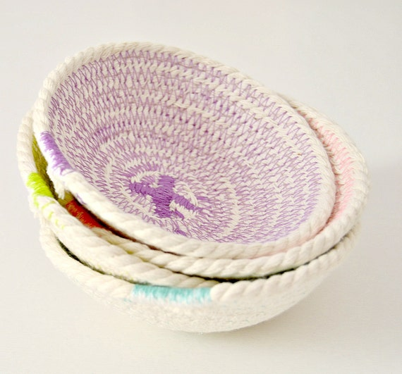 Rope Bowl Set, Mini Rope Bowls, Rope Basket Set, Gift for her, Colorful bowl set, Boho home décor, Decorative bowls Home Decor Bowl Set Coil