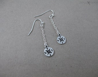 Compass Earrings - Silver