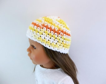 18 inch Doll  Crochet Hat  Yellow Orange and White Variegated Yarn Accessories Toys