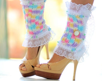 Victorian Style Leg Warmers - Colorful Lace Spats in Cupcake Colors -  Kawaii Fashion Accessories