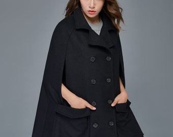 Wool Cape,  Coat, wool cape coat, plus size cape coat, cloak, cape, cape coat, black cape, womens cape, winter cloak, wool cloak  C975