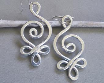Unique BIG Earrings, Celtic Budding Spiral Earrings, Light Weight Hammered Aluminum Earrings, Celtic Jewelry, Women, Long Dangle Earrings