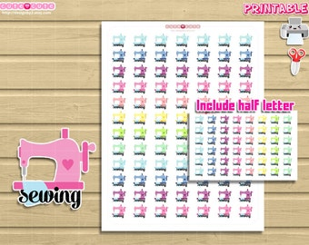 Functional Sewing Printable Stickers for your life planner. For example happy planner, filofax, kikki k, etc