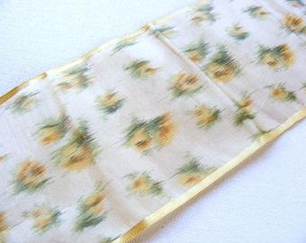 Antique Victorian Era Silk Charmuse Sash Ribbon 4 Inch Yellow Roses