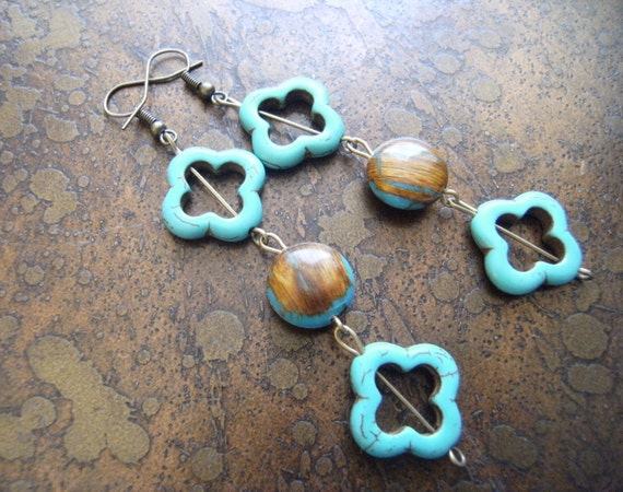 Forget Me Not Howlite and Vintage Plastic Beaded Dangle earrings