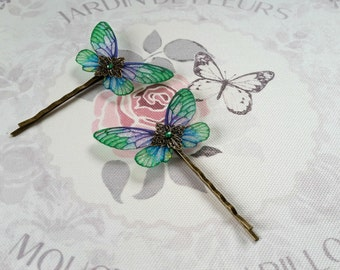 Magical Green, Purple & Blue Fairy Wing Hair Clips