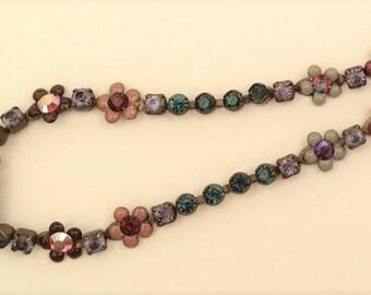 Vintage Sorrelli Fresh Flowers Crystal Choker Necklace