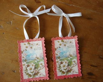 Victorian Easter gift tags vintage pink floral glitter tags Vintage Easter card paper ornaments Easter home decor shabby chic