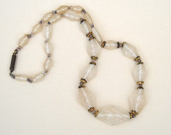 Antique Molded Frosted Clear Glass Beaded Necklace Deco . Unique Glass Beads
