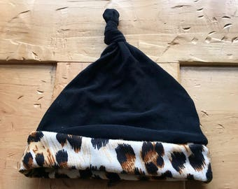 Baby Girl Leopard Hat, Animal Print, Black, 6-18 months, Gift, Ready to Ship