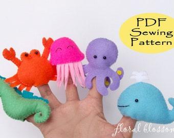 Digital Pattern: Sea Creatures Felt Finger Puppets