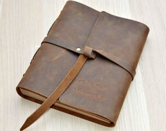 Rustic Leather Photo Album, Wedding Guest Book,  Leather Guestbook/Scrapbooks, Custom any size and with Free stamping