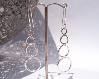 Sterling Silver Hammered Wire Earrings - Silver Drop Earrings - Sterling Silver Dangle Earrings - Silver Jewellery - Paisley Daze Designs