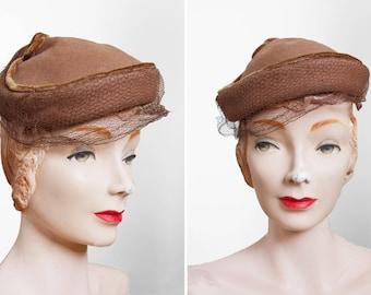 Vintage 1940s Hat - 40s Hat - Brown Veiled Wool Hat